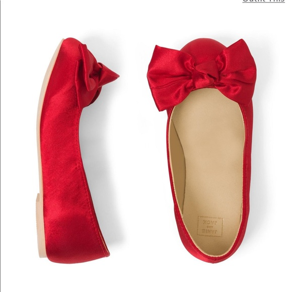 Janie and Jack Other - Janie and Jack Red Satin Flat